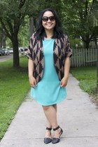 brown Forever 21 cardigan - aquamarine Jack by BB Dakota dress