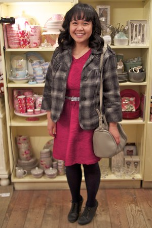 black unknown brand tights - hot pink Topshop dress - dark gray JCPenney jacket
