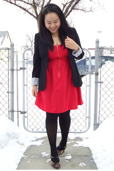 black Suzy Shier blazer - red lola dress - black tights - brown Payless heels