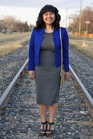 gray Forever 21 dress - blue Topshop blazer - beige Celine purse