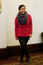 pink Gap sweater - black Divi skirt - black Ardene top - brown GoJane shoes - gr