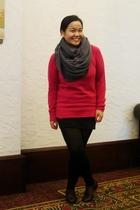 pink Gap sweater - black Divi skirt - black Ardene top - brown GoJane shoes - gr