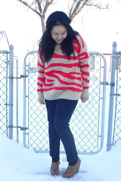 orange Club Monaco sweater - blue hollister jeans - black Aritzia hat