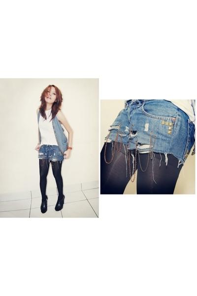 Zara shirt - unbranded vest - Levis shorts - unbranded tights - belle boots - un