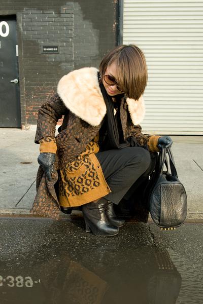 brown vintage coat - brown Zara cardigan - black CdG pants - black Sam Edleman s