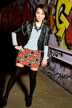 black H&M jacket - blue Gap top - red H&M skirt - black shoes - black necklace -