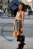 black bag - black shoes - pink top - beige skirt - purple necklace