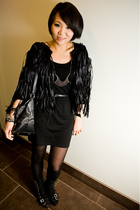 black H&M dress - black Jeffrey Campbell boots - black studded H&M belt