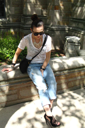 Forever21 t-shirt - abercrombie and fitch jeans - Zara shoes - YSL accessories -