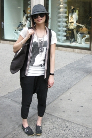Zara blazer - Zara t-shirt - Zara pants - adidas shoes - hat - YSL accessories
