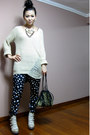 Off-white-boots-off-white-sweater-dark-brown-bag-navy-pants-magenta-coac