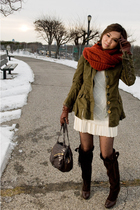 green jacket - brown shoes - white dress - orange H&M scarf - brown Boktier acce