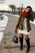 green jacket - brown shoes - white dress - orange H&M scarf - brown Boktier acce