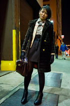 black H&M skirt - black sam edelman shoes - brown vintage Givenchy accessories -
