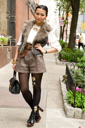 brown H&M shorts - brown belt - brown Collection B vest - white blouse - black a
