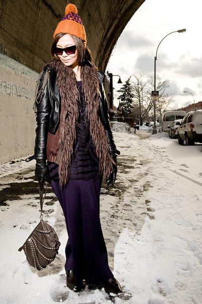black H&M jacket - purple CdG cardigan - black H&M top - purple PP dress - brown