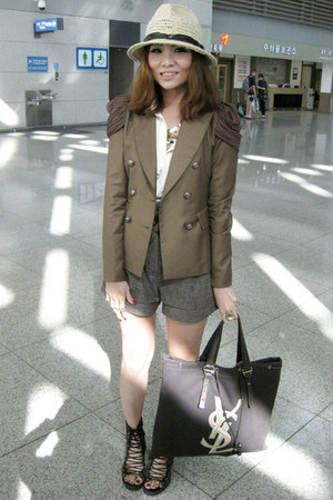 brown jacket - brown shorts - white top - brown YSL bag - black shoes - beige Za