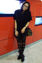 black military boots boots - black Zara dress - black sweater - black leggings