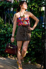 Red-top-green-forever-21-skirt-gold-celine-shoes-brown-accessories-gold-