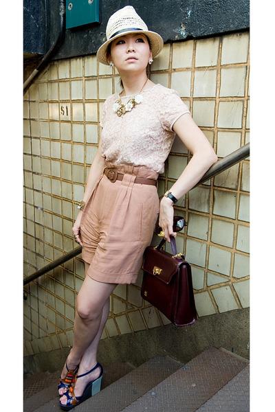 pink H&M blouse - beige Zara shorts - brown Zara belt - brown Givenchy bag - bei