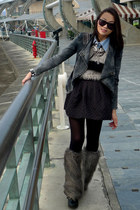 charcoal gray furry boots - gray denim jacket jacket - eggshell fluffy sweater