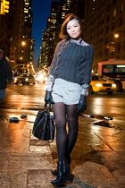 pink Zara shirt - blue H&M scarf - gray shorts - black accessories - black sam e
