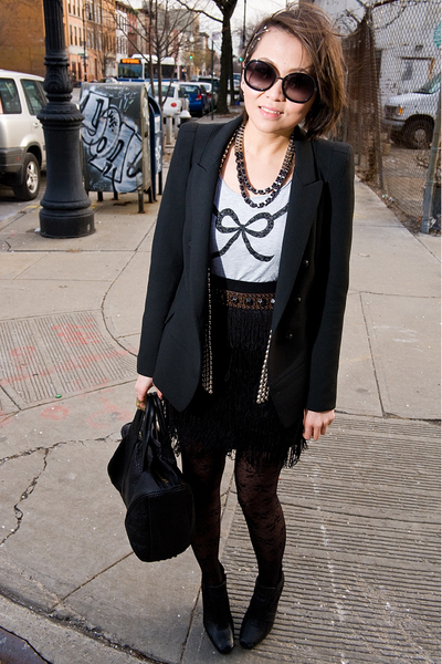 black Chloe sunglasses - black Zara blazer - black H&M skirt - black vest - blac