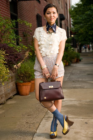 white Rebecca Taylor blouse - gold shoes - beige UO shorts - blue sample socks