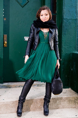 green 31 phillip lim dress - black sam edelman shoes - black H&amp;M jacket