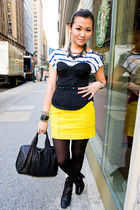 yellow H&M skirt - blue H&M t-shirt - black bra - black sam edelman shoes - blac