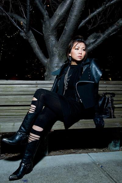 black CdG jacket - black dress - black H&M leggings - black shoes - black access