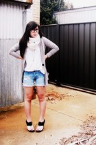 periwinkle cardigan - beige Witchery shirt - sky blue bardot shorts - white port
