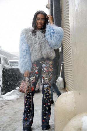 charlotte simone coat - Alice Olivia jeans - Stella McCartney bag