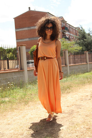 light orange long H&amp;M dress - brown shopping Tuscany Leather bag - black wide St