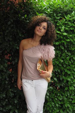 gold envelope Dorothy Perkins purse - light pink one shoulder ethic top - white