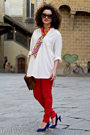 white oversized Dorothy Perkins shirt - red vintage scarf - dark brown snakeskin