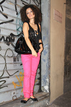 black patent Carpisa bag - hot pink neon Koralline pants - black fringed Koralli