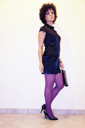 black satin Zara dress - amethyst bright Calzedonia tights