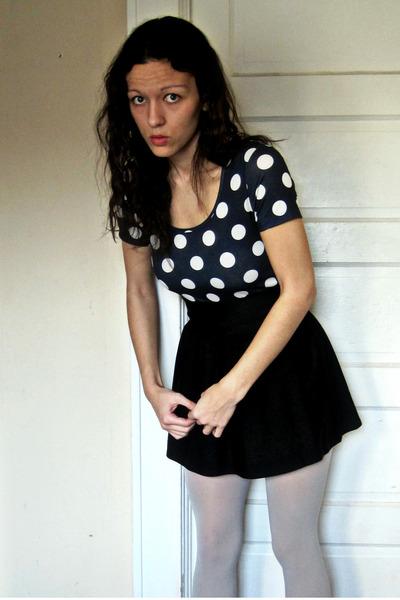 blue Topshop top - black Forever 21 skirt - gray Target tights