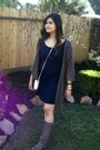 Chinese-laundry-boots-navy-dress-dark-gray-cardigan