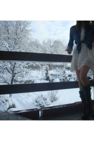 black leather Forever 21 boots - white lace Zara dress - sky blue denim Zara shi