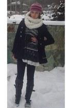 black Debenhams coat - black Forever 21 boots - charcoal gray Zara dress