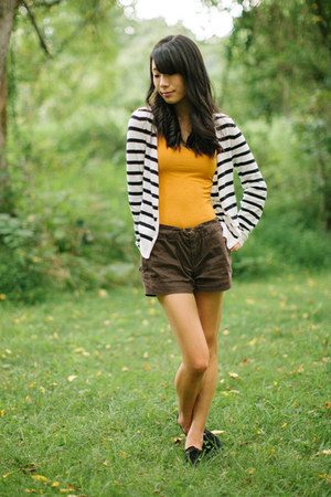 chocolate brown Gap shorts - mustard Forever 21 top - stripes H&M cardigan