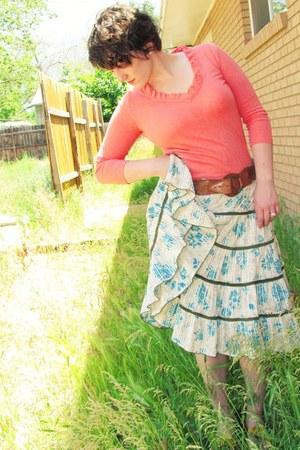 salmon cotton JCrew shirt - turquoise blue prairie unknown skirt - tawny leather