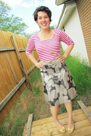 hot pink striped cotton Gap shirt - silk patterned H&M skirt - canvas Steve Madd