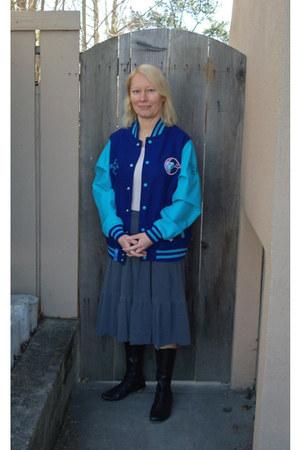 gift jacket - cydwoq boots - JCrew shirt - Velvet skirt