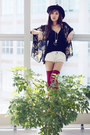 Booties-forever-21-boots-denim-shorts-zara-shorts-kimono-forever-21-cape