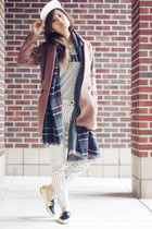 baseball hat madewell hat - striped jeans madewell jeans - plaid Zara scarf