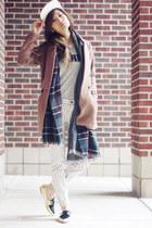 baseball hat madewell hat - striped jeans madewell jeans - plaid Zara scarf