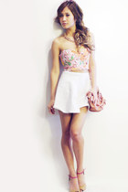 Miu Miu bag - Nasty Gal sunglasses - floral bustier Romwecom top